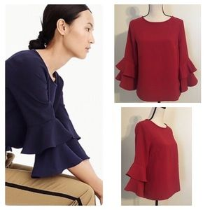 J. Crew Tiered Bell-Sleeve; Deep Red